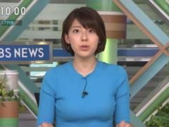 上村彩子アナがピチピチニットでムチムチのエロおっぱいの形がくっきりの着衣巨乳キャプ!TBS女子アナ
