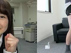 リクスー新卒社員の宮沢ちはるちゃんがセクハラされまくりでスーツのままオフィスで着衣ハメ