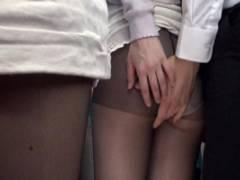 篠田ゆう 満員バスの黒パンストOLに興奮し勃起したチンコを押し付けお尻触っちゃう