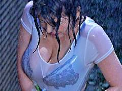 八神さおり むっちり巨乳な息子の嫁、雨に濡れて透けたおっぱいに思わず手が出ちゃった
