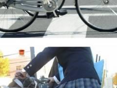 女子高生ってミニスカ制服姿で自転車乗ってるよね