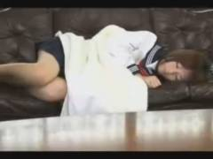ソファーで寝てしまったセーラー服の美少女JKを起こして熱烈キッス 愛璃みい erovideo
