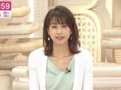加藤綾子アナ、ユルめの胸元からおっぱいの始まりがチラ見え【GIFあり】