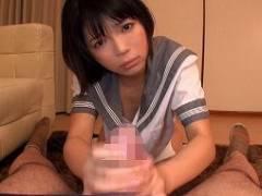 【彩音舞衣】パイパンJK少女、手コキフェラからの口内発射に最後は中出しSEX