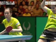 平野美宇のユニフォームがめくれておへそと股間丸見えハプニングキャプ!女子卓球