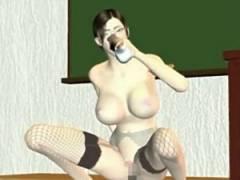 【3Dエロアニメ】 ディルドオナニーでチンポ誘惑してくるメガネ女教師のボテ腹中出しセックス