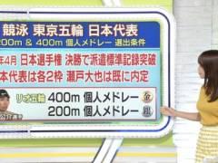 鷲見玲奈アナがノースリーブニットでムチムチおっぱいの形がくっきりの着衣巨乳キャプ!テレビ東京女子アナ