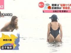 日本テレビがお尻丸出し食い込み水着ギャルを盗撮
