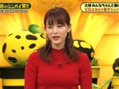 新井恵理那がピチピチニットで美乳そうなエロおっぱいの形が浮き彫りキャプ!フリーアナウンサー